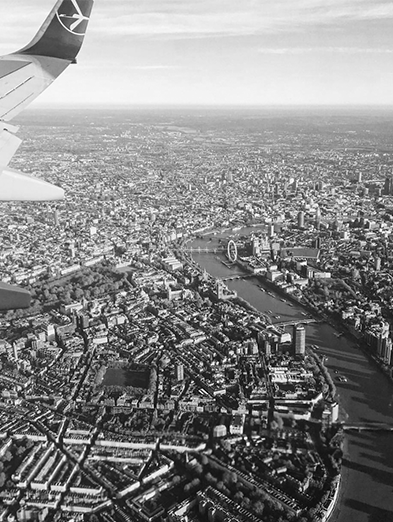 Aerial texture photography shot of London